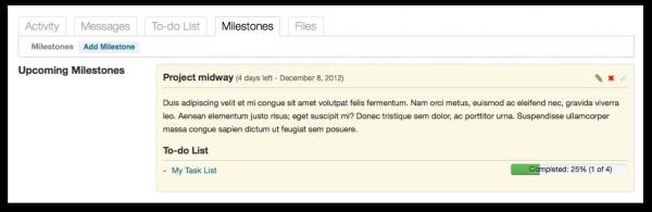 The project milestones screen