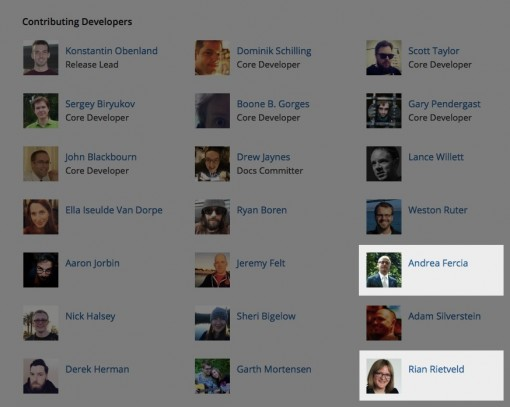 Andrea Fercia and Rian Rietveld as recent rockstars on the WordPress 4.3 credits page