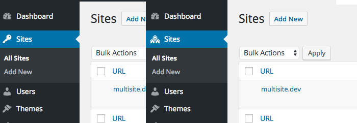 Before and after (WordPress 4.6) screenshots of the Sites menu icon in the Network Admin