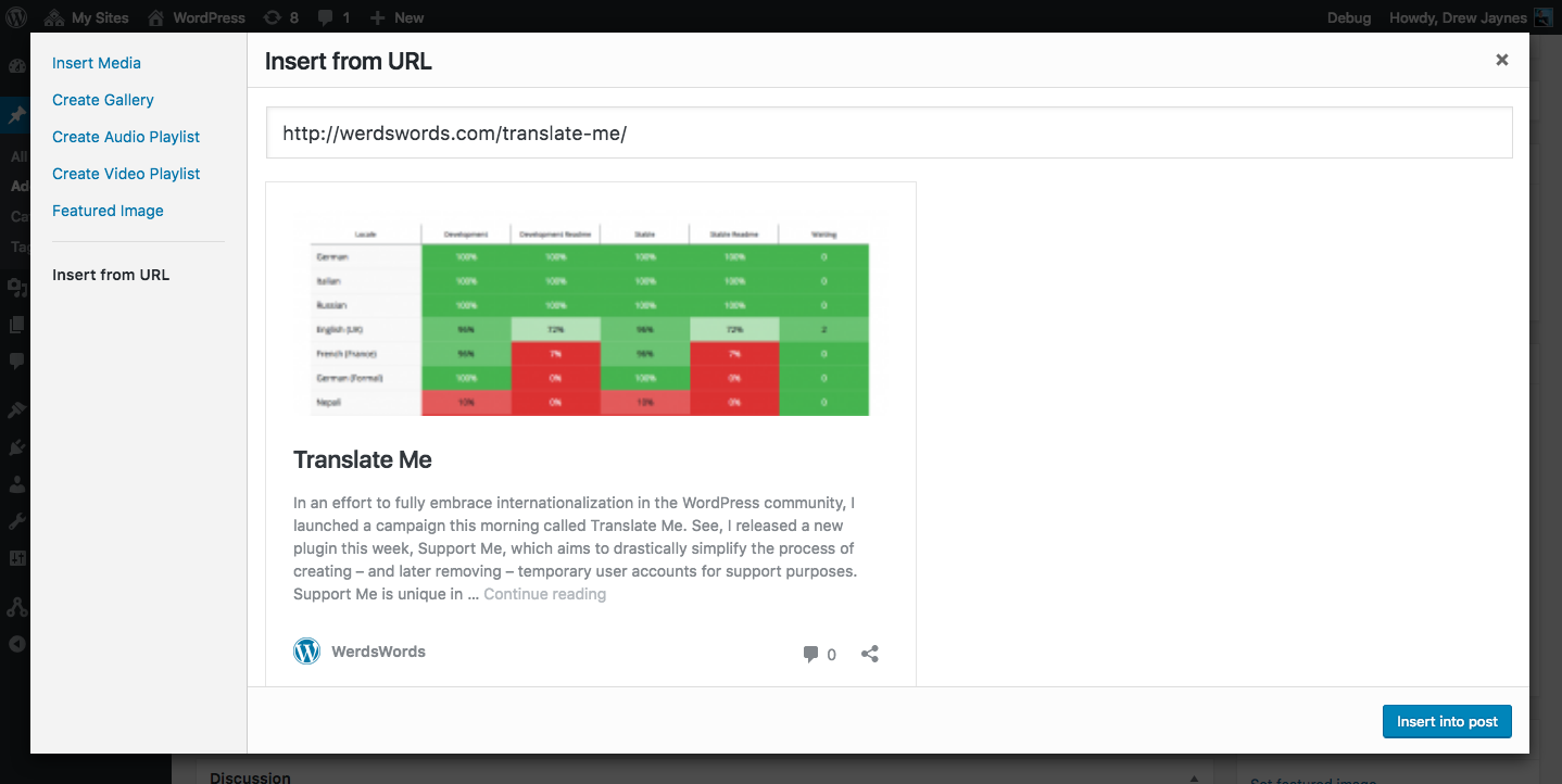 Screenshot of the Insert From URL workflow in the media modal in WordPress 4.6