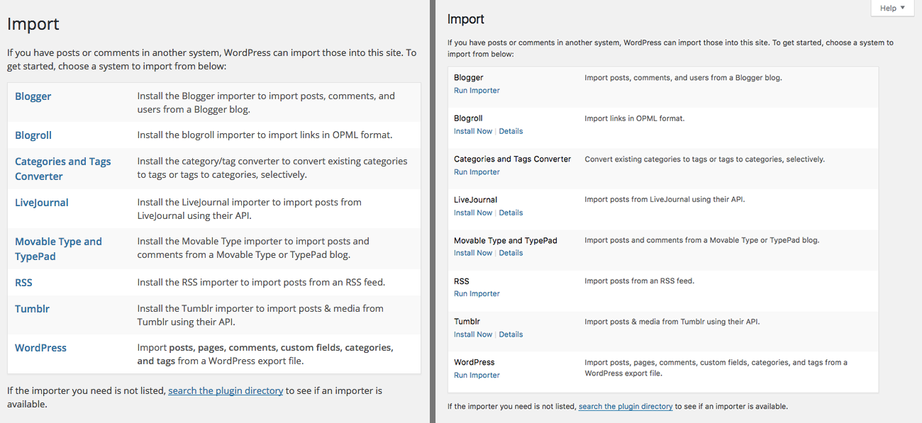 Before and after (WordPress 4.6) screenshots of the Import screen