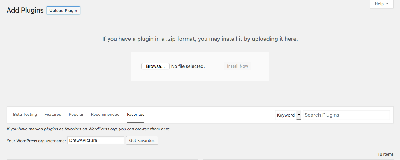 Add plugins drop-down panel in Add Plugins in WordPress 4.6